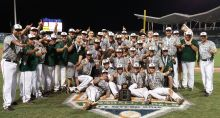 Players and coaches of the Venice High School baseball team pose with the state championship trophy on the field at JetBlue Park in Fort Myers late Saturday night after beating Bartram Trail 5-0 in the Class 6A state final. The title is the team's third in the past five years.