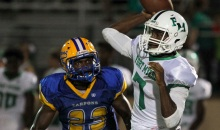Charlotte defensive back Maleek Williams (23) pressures Ft Myers quarterback Edwitch Merisier (7) during the first quarter Friday at Charlotte High School.  Photo by Tom O'Neill