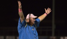 SUN PHOTO BY KATHERINE GODINA Charlotte's  Coach Binky Waldrop celebrates a touchdown during their Friday night Homecoming game against American Senior High