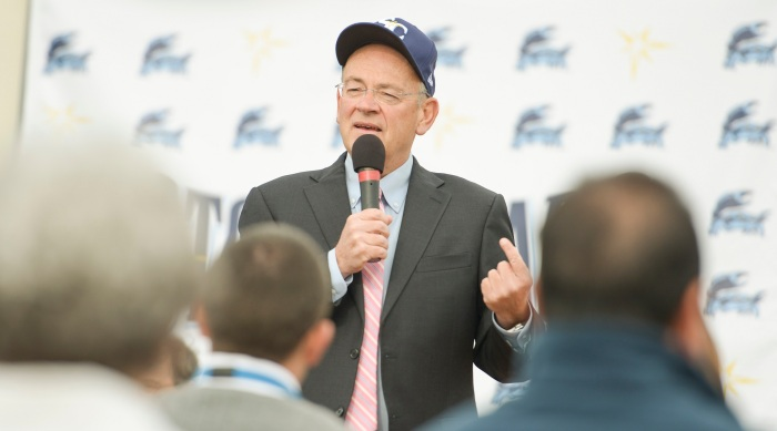 General partner of the CBI Group, Lou Schwechheimer, talks about the new ownership of the Stone Crabs on Wednesday. Sun photo by Jennifer Bruno