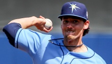 Tampa Bay Rays relief pitcher Danny Farquhar (43) pitches against the Boston Red Sox during the fifth inning Sunday at Charlotte Sports Park.  Photo by Tom O'Neill