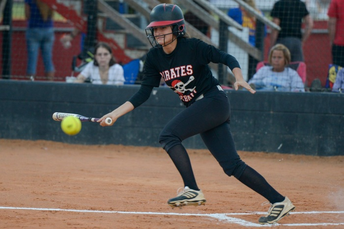 Port Charlotte's Taylor Innello connects with the ball during the first inning against Cypress Lake on Monday. Sun photo by Jennifer Bruno