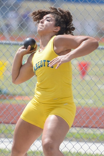 Charlotte's Kendall Chavarria finished third in the shot put at Thursday's Region 3A-3 meet. Sun file photo by Jennifer Bruno