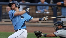 Charlotte Stone Crabs first baseman Mac James (8) bats against the Fort Myers Miracle during the second inning Friday at Charlotte Sports Park.  Photo by Tom O'Neill