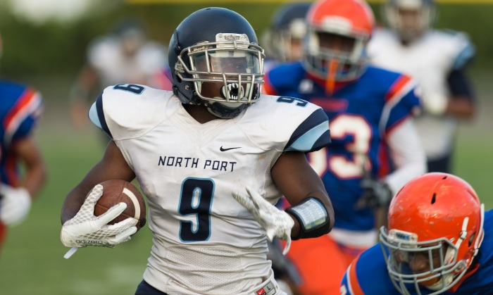 North Port's Octavious Cummings breaks free down the sideline for a long gain against Southeast on Thursday. Sun photo by John Kersten