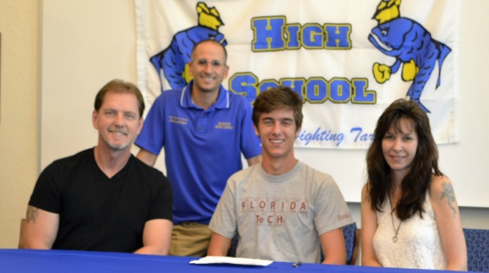 Charlotte runner Chris Daniele signs a national letter of intent with the Florida Institute of Technology. Photo provided