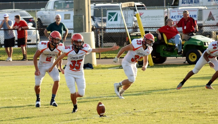 Lemon Bay's Summer Rusher kicks off during the Manta Rays' spring game at Cardinal Mooney on May 21. Photo provided