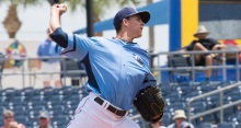 SUN PHOTO BY KATHERINE GODINA Stone Crabs Brent Honeywell pitches during Sunday's game against the Tampa Yankees