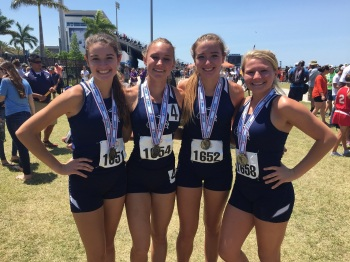 The North Port 4x800 relay team of Kaley Boethig, Shelby Cutchineal, Lindsay Boethig and Nicole Raczka. Sun phoyo by Bryan Levine