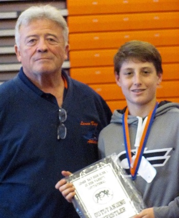 Lemon Bay coach Gary Jonseck with former Mantas wrestler Tyler Brady in 2014. Sun file photo