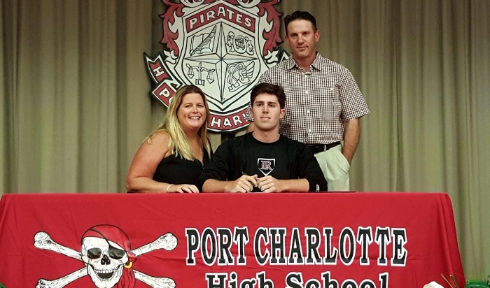 Port Charlotte baseball player Matt Ranson poses with his parents after signing a national letter of intent with Lenoir Rhyne University. Sun photo by Josh Vitale