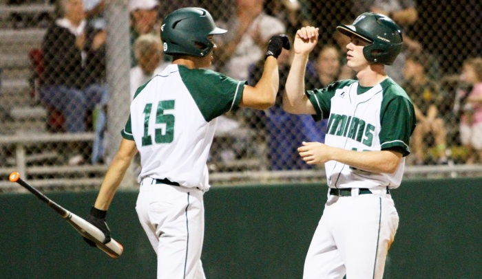 Venice's Trevor Holloway (left) and Shane Shifflett (right) celebrate after a win over Fort Myers earlier this season. Sun photo by Justin Fennell