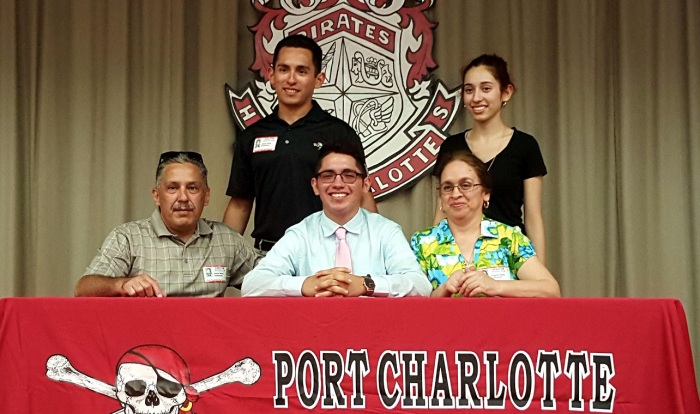 Port Charlotte golfer Jeovani Veloz poses with family after signing with Tennessee Wesleyan. Sun photo by Josh Vitale