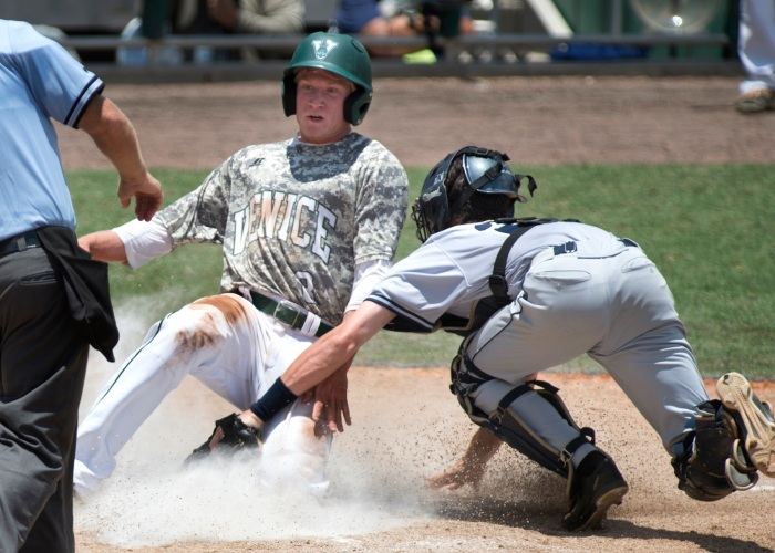 Venice's Kyle Bachle scores the Indians' only run in Saturday's state-title-game loss to Gaither. Sun photo by Marc Beaudin