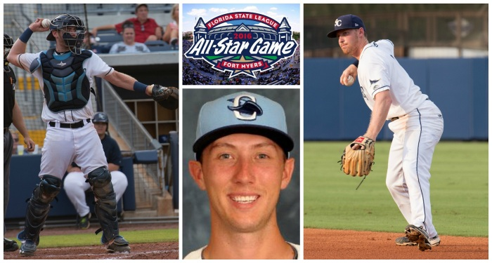 Catcher Mac James (left), reliever Brian Miller (center) and second baseman Riley Unroe (right) will represent the Stone Crabs at the FSL All-Star Game in Fort Myers on Saturday, as will the team's coaching staff. Left and right photos by Katherine Godina. Center photos courtesy MiLB.com.