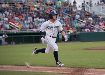 Stone Crabs second baseman Riley Unroe sprints toward first base during the Florida State League All-Star Game on Saturday. Sun photo by Katherine Godina
