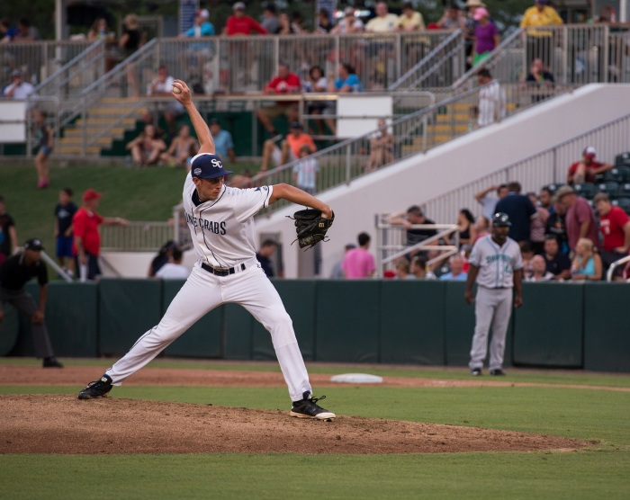 Stone Crabs Brian Miller pitches in the fifth inning of the the Florida State League All-Star Game on Saturday in Fort Myers. Sun photo by Katherine Godina