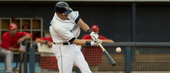 Charlotte's Mikie Mahtook hits a single against Palm Beach on Wednesday night at Charlotte Sports Park.