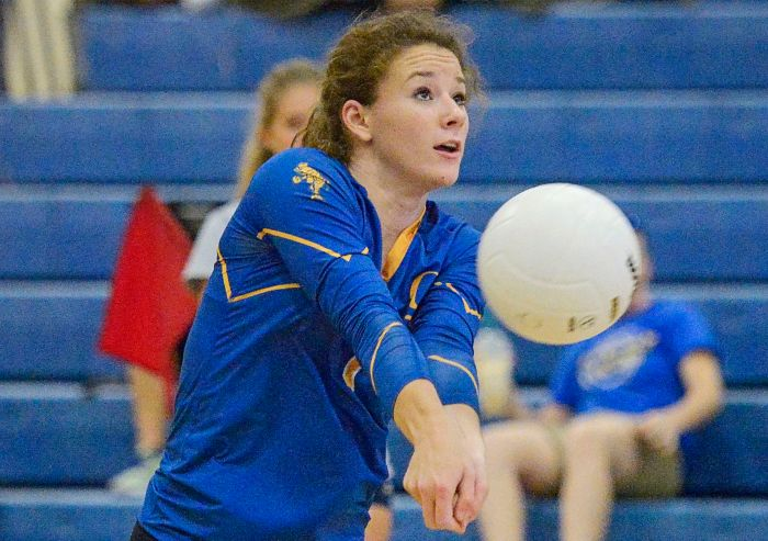 Charlotte's Shelby Beisner sets the ball for her teammate during the Gene Gorman tournament held in Punta Gorda on Saturday (Sun Photo by Jennifer Bruno)