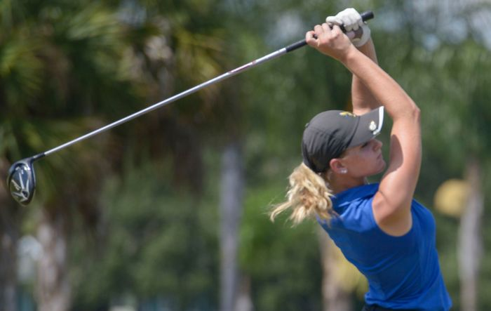 Charlotte's Laren Fender tees off during the tournament held at the Port Charlotte golf course on Friday (Sun photo by Jennifer Bruno).