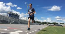 Dillon Garrett runs around the track at a North Port High School during a cross country practice this week, as he and the Bobcats prepare for a meet they're hosting tomorrow. (Sun Photo by Bryan Levine)