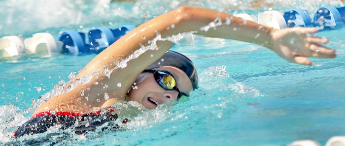 Port Charlotte's Jaclyn Roche competes during the girls 200 freestyle (Sun photo by Michele Haskell)