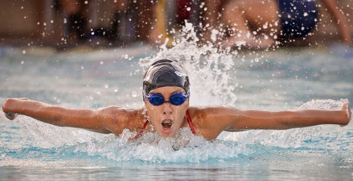 Port Charlotte's Arianna Janson-Dugan competes in the 100 YD butterfly during the meet held on Wednesday (Sun Photo by Jennifer Bruno).