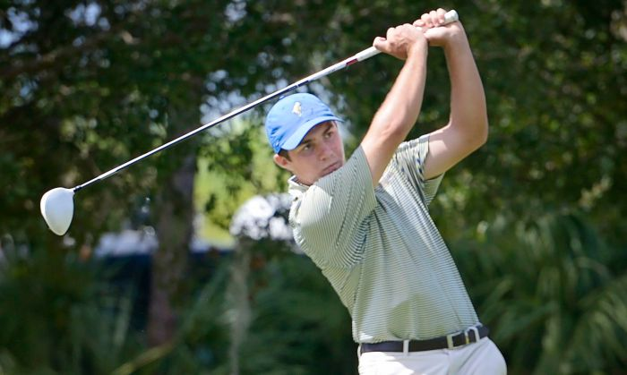 Charlotte's Billy Brumbaugh tees off at the golf tournament held at Kingsway Country Club on Monday morning (Sun Photo by Jennifer Bruno)