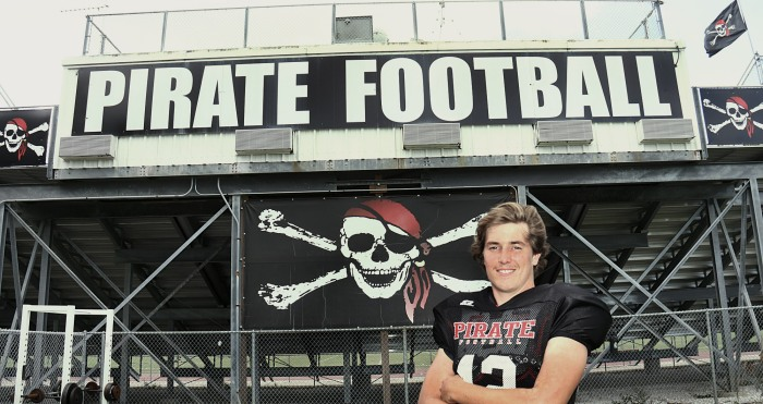 Port Charlotte's Andrew Bennett who suffers from an autoimmune disease called scleroderma, but he doesn't allow it to stop him from playing football (Sun Photo by Michele Haskell).