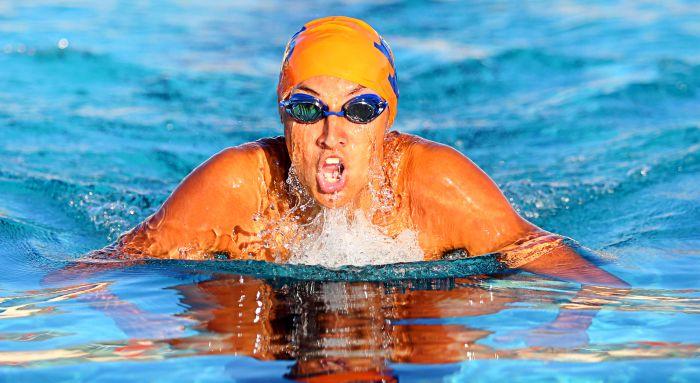 Zachary Willison swims the breaststroke for Lemon Bay High School (Sun Photo by Tim Kern).