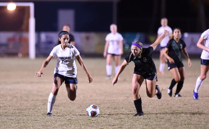 North Port's Ad Troche takes the ball up the field against Lakewood Ranch's Lindsay Coleman on Tuesday night in North Port (Sun photo by John Kersten).