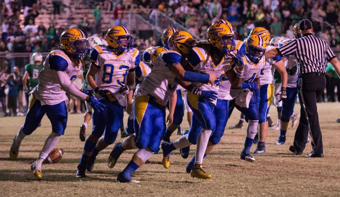 Charlotte players celebrate their win over Fort Myers on Friday (Sun Photo by Kat Godina).