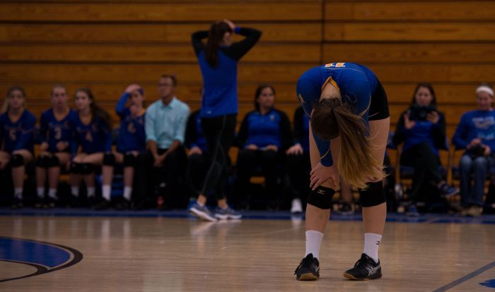 Charlotte's Michelle Bunch and team bench reacts to dropping Tuesday's regional championship match to Barron Collier, ending the Tarpon's season (Sun photo by Kat Godina).