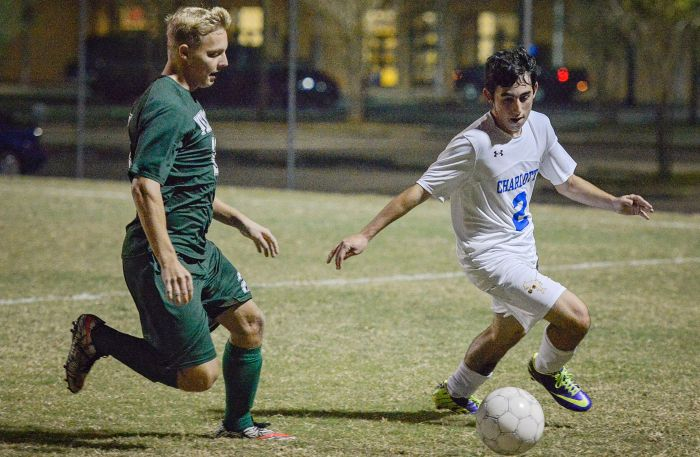 Charlotte's Jonathan Villarreal takes possession of the ball from a Venice defender (Sun Photo by Jennifer Bruno).