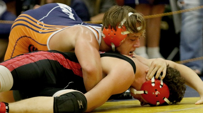 Lemon Bay's James Dilley manuvers as North Fort Myers's Caleb Ragan works to escape, during their 138 ib bout at the Captain Archer Varsity Tournament held at Charlotte (Sun Photo by Michele Haskell)
