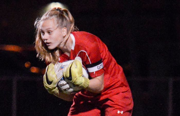 Port Charlotte goalkeeper Grace Stec makes a save Thursday at home (Sun Photo by Jennifer Bruno).