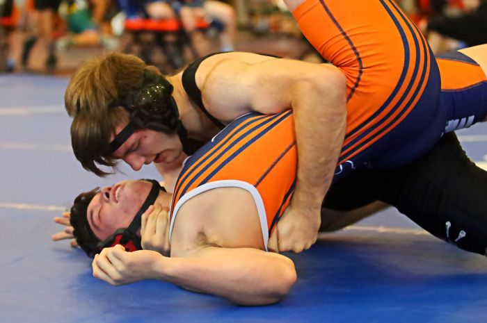 Lemon Bay's Cody Sarver tries to avoid being pinned by Port Charlotte's Gavin Spencer on Saturday (Sun Photo by Tim Kern).