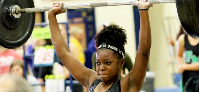 Charlotte's Britney Augustin was one of six Tarpons to win their weight class at Wednesday's district championships (Sun Photo by Michele Haskell).