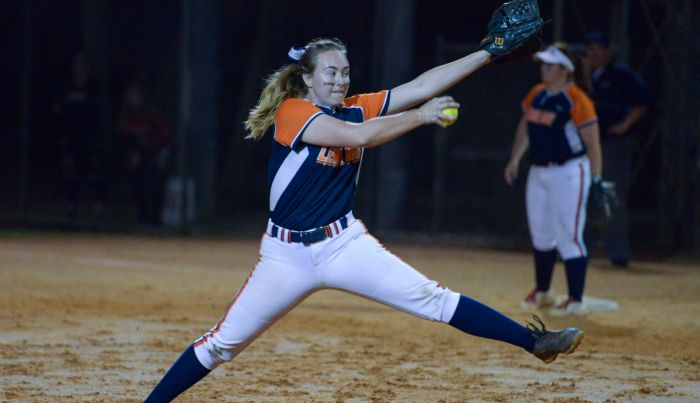 Lemon Bay's Logan Johnson throws out a pitch to Port Charlotte during the game played on Wednesday evening (Sun Photo by Jennifer Bruno).