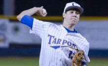 Charlotte's Kyle Machado throws out a pitch to Manatee during the Tarpons home game on Monday evening (Sun Photo by Jennifer Bruno).