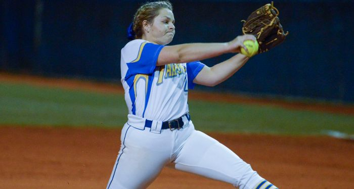 Charlotte's Julie Dedrick throws a pitch to Port Charlotte during the Tarpons home game on Thursday evening (Sun Photo by Jennifer Bruno).