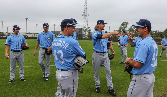 Tampa Bay Rays pitchers and catchers take part in their first workout Tuesday at Charlotte Sports Park (Sun Photo by Tom O'Neill).