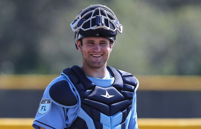 Tampa Bay Rays catcher Nick Ciuffo (72) works out Wedneday at Charlotte Sports Park (Sun Photo by Tom O'Neill).