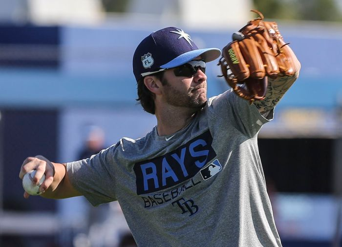 Tampa Bay Rays infielder Nick Franklin (2) works out Thursday at Charlotte Sports Park (Sun Photo by Tom O'Neill).