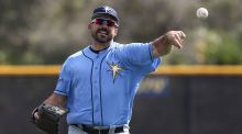 Tampa Bay Rays pitcher Dana Eveland works out Sunday at Charlotte Sports Park (Sun Photo by Tom O'Neill).