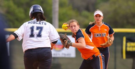 Lemon Bay's Christain Chandler (44) forces out North Port's Brianna Mitchel (17) at second base Tuesday at North Port High School.  Photo by Tom O'Neill