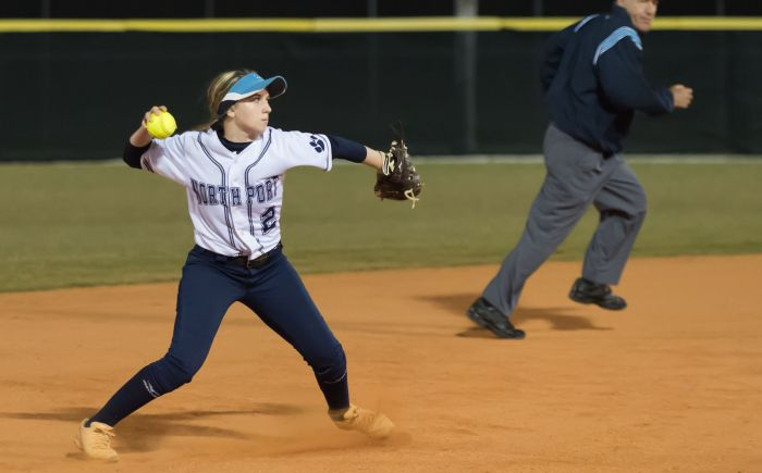 North Port's Kylie Murray throws the ball to first to record an out against Port Charlotte on Monday night (Sun Photo by John Kersten).