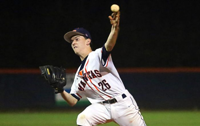 Jacob Treece's pitching keeps his Mantas in the game early but Lemon Bay couldn't get it going at the plate on Thursday against Mariner (Sun Photo by Tim Kern).