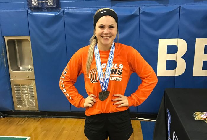 Lemon Bay's Emily Schulte finished in fourth place in the 129-pound weight class at the Class 1A state meet Friday afternoon (Sun Photo by Jordan Kroeger).