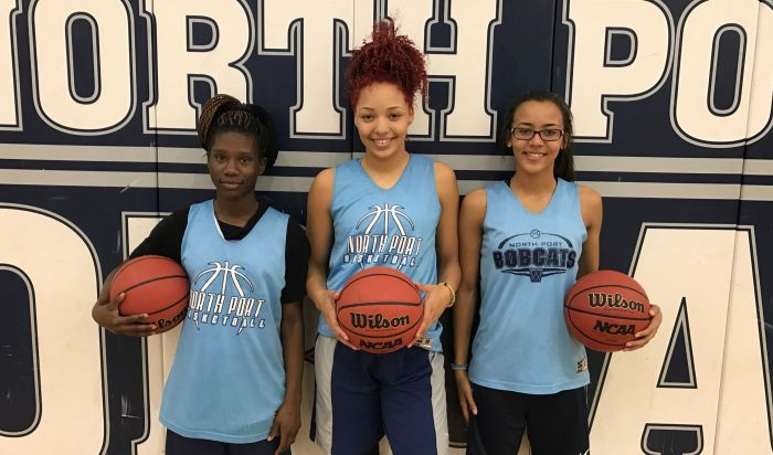 From L-R: Freshman Emani Jefferson, junior Alexis Francavilla and junior Aryana Hough make up North Port High School's Big Three (Sun Photo by Bryan Levine).